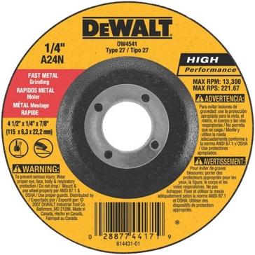 """DeWalt DW4541 4.5"""" Fast Cutting Wheel Type 27"""