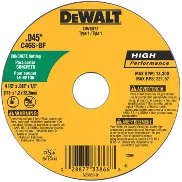 "Dewalt 4"" x .045"" x 5/8"" metal and stainless cutting wheel DW8072"