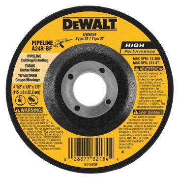 "Dewalt 4.5"" x 1/8"" x 7/8"" Pipeliner Cut Grind Wheel DW8434"