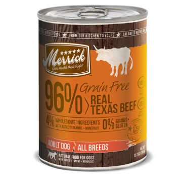 Merrick Grain Free 96% Real Texas Beef Wet Dog Food 12.7oz