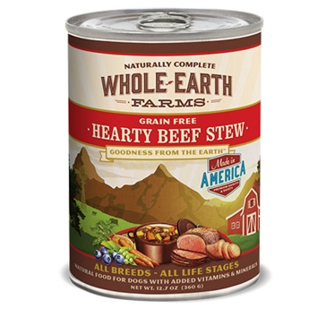 Whole Earth Farms Grain Free Hearty Beef Stew Recipe Wet Dog Food 12.7oz