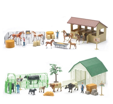 New Ray 1:32 Large Country Life Barnyard or Corral Playset