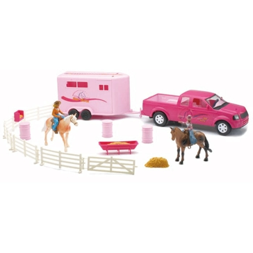New Ray 1:32 Pink Pick Up Truck & Horse Trailer Set