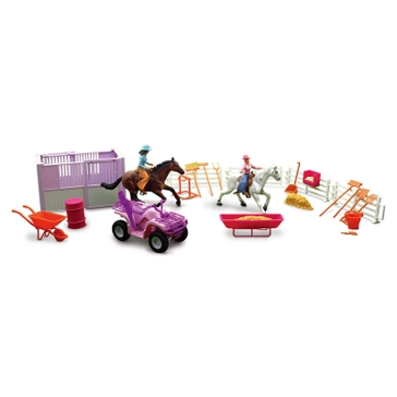 New Ray Pink Valley Ranch Horse Playset