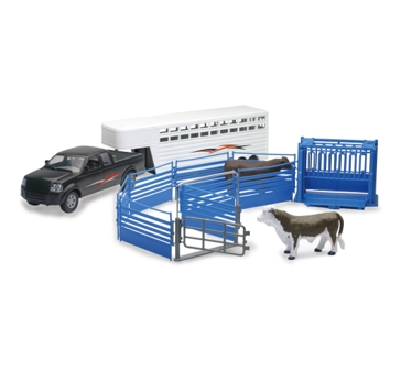 New Ray 1:20 Scale Pickup Truck and Trailer Set with Cows