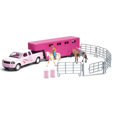 New Ray 1:20 Scale Pink Pick Up with Horse Trailer Set