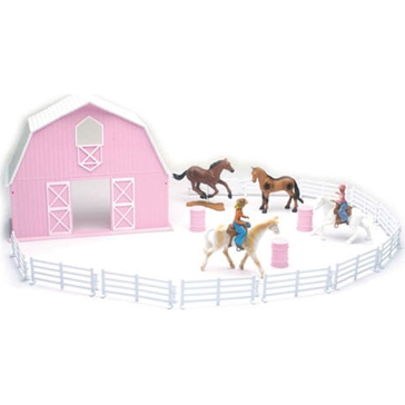 New Ray Valley Ranch Pink Barn and Horse Playset