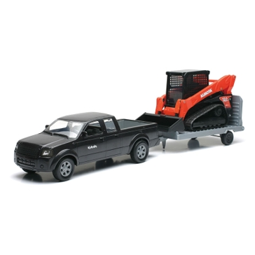 New Ray 1:18 Pick Up & Trailer with Kubota SVL Track Loader