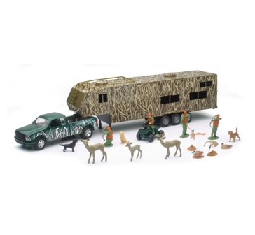 New Ray Toys USA Hunting Green Pickup with Trailer