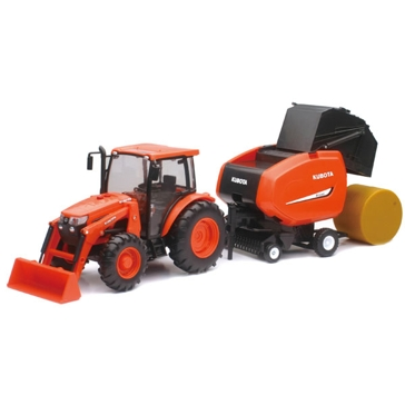 New Ray 1:18 Kubota M5-111 Tractor and Hay Baler