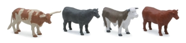 New Ray Ranch Cow 4 Piece Set SS-05526
