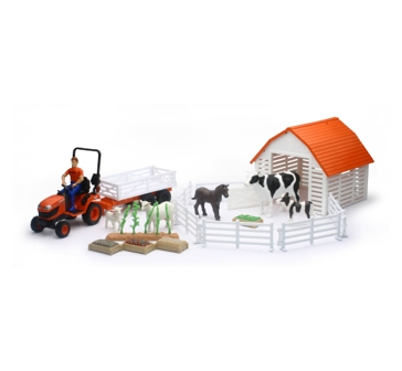New Ray Toys USA Kubota Tractor with Barn & Animals