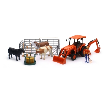 New Ray Toys USA Kubota Tractor with Ranch Set
