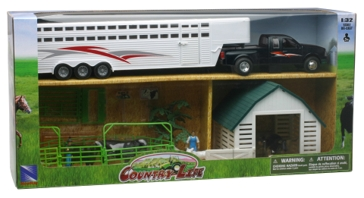 New Ray Pickup and Fifth Wheel Cattle Trailer W/ Cows SS-10915C