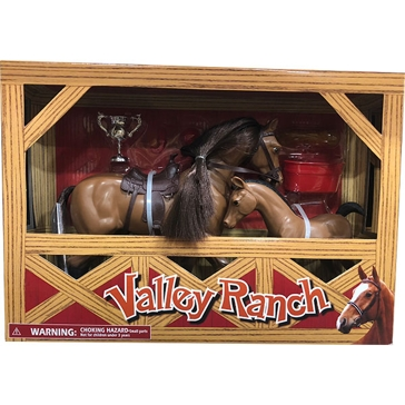 New Ray Toys USA Horse & Foal Valley Ranch Set 1:9 Assorted
