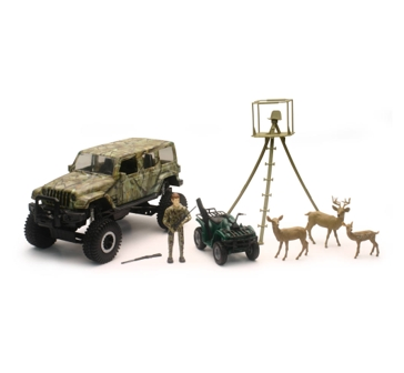 New Ray Jeep Wrangler Deer Hunting Playset 1:18 Scale 76546