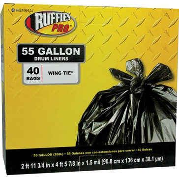 Ruffies Pro 55 Gal Drum Liners Trash Bags - 40 Count