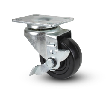 """Hard Rubber Swivel with Brake Caster 3x1-1/4"""""""