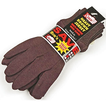 Kinco Large Brown Jersey Gloves - 3 Pack