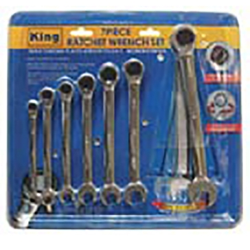 King Tools 7 Piece Ratchet Spanner Wrench Set
