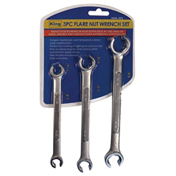 King Tools 3 Piece Flare Nut Wrench Set