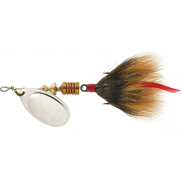 Mepps Dressed Treble Aglia Lure 1/6oz Silver Blade w/Brown Tail