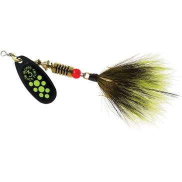 Mepps Dressed Treble Black Fury Lure 1/4oz Yellow Dot Blade w/Grey/Yellow Tail