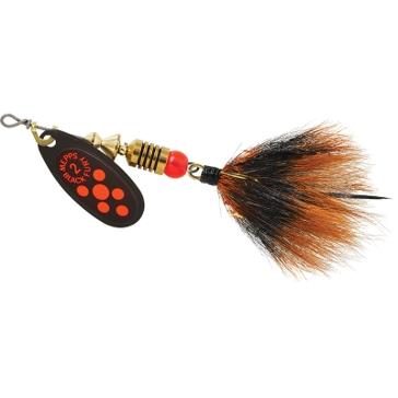 Mepps Dressed Treble Black Fury Lure 1/6oz Fluorescent Red Dot Blade w/Grey/Orange Tail