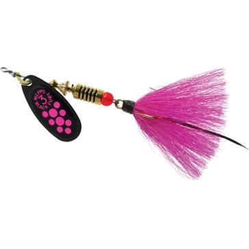 Mepps Dressed Treble Black Fury Lure 1/4oz Pink Dot Blade w/Pink Tail