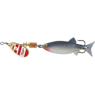 Mepps Comet Mino Lure 1/6oz Gold/Red/White Blade w/Shad Mino