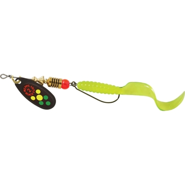 Mepps Combo Treble Black Fury Lure 1/6oz Hot Firetiger Dot Blade w/Chartreuse Tail