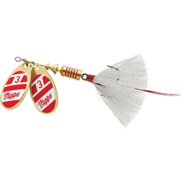 Mepps Double Blade Aglia Lure 1/4oz Gold/Red/White Blades w/White Tail