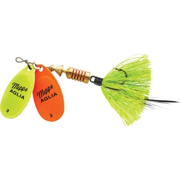 Mepps Double Blade Aglia Lure 1/4oz Chartreuse/Orange Blades w/Chartreuse Tail