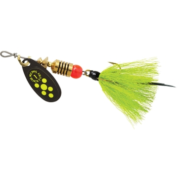 Mepps Dressed Treble Black Fury Lure 1/8oz Chartreuse Dot Blade w/Grey/Chartreuse Flake Tail