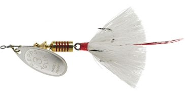 Mepps Dressed Anglia Treble Lure 1/4oz Silver Blade w/White Tail