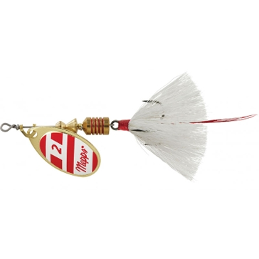 Mepps Dressed Anglia Treble Lure 1/6oz Gold/Red/White Blade w/White Tail