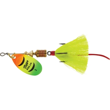 Mepps Dressed Anglia Treble Lure 1/6oz Hot Firetiger Blade w/Yellow Tail