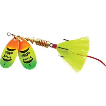 Mepps Double Blade Aglia Lure 1/4oz Hot Firetiger Blades w/Chartreuse Tail