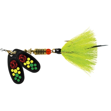 Mepps Double Blade Aglia Lure 1/4oz Hot Chartreuse Blades w/Chartreuse Tail
