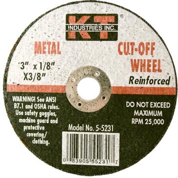 K-T Industries 3 X 1/8 X 3/8 Cutting Wheel 5-5231