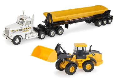 Ertl Freightliner Truck with Side Dump Trailer and John Deere Front End Loader 1:32 Scale 46989
