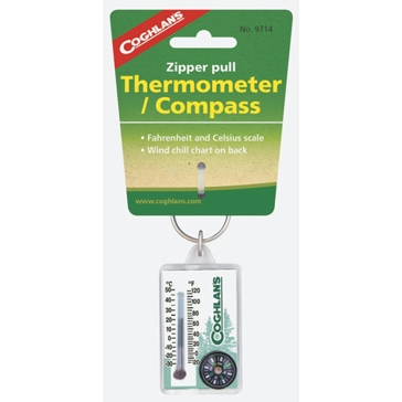 Coghlans Zipper Pull Thermometer with Compass 9714