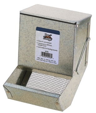 "Pet Lodge 5"" Metal Small Animal Feeder with Lid and Sifter Bottom"