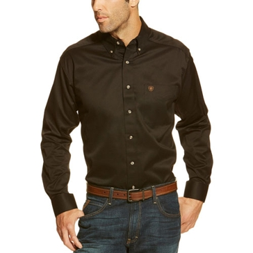 Ariat Men's Long Sleeve Twill Button Down Black Shirt 10000502