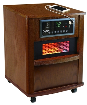 "Comfort Zone 20"" Infrared Quartz Wood Cabinet Heater"