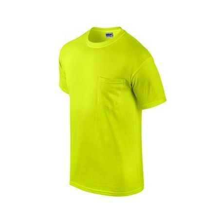458160d7 Home; Gildan Mens Workwear S/S T-Shirt w/ Pocket 2-Pack. Safety Green