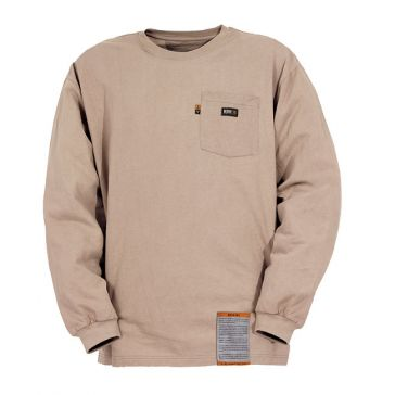 Flame Resistant Long Sleeve Crew Neck T-Shirt  Khaki