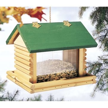 North States Large Hanging Log Cabin Birdfeeder