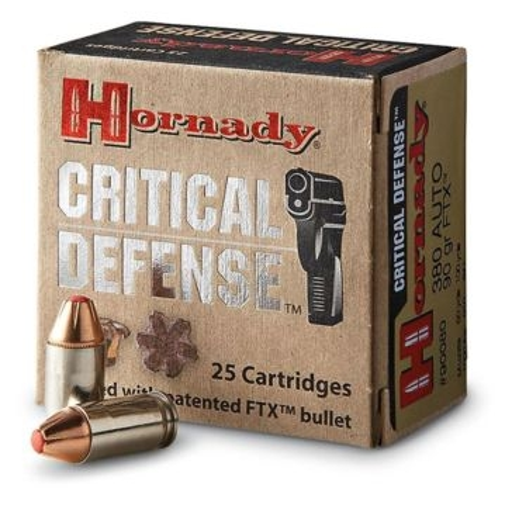 Hornady Critical Defense 380 Auto 90 Grain FTX Pistol Ammo
