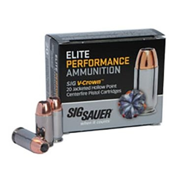 Sig Sauer Elite V-Crown Jacketed Hollow Point Centerfire Pistol Cartridges - 380Auto